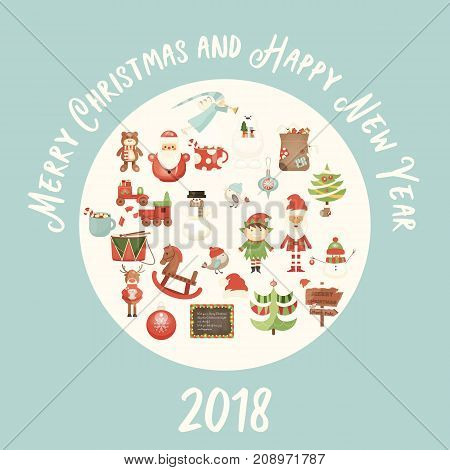 Merry Christmas Greeting Card - Santa Claus and Xmas Characters in White Circle. Square Format. Vector Illustration.