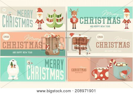 Merry Christmas Banners Set with Santa Claus and Cute Xmas Characters. Vector Illustration.