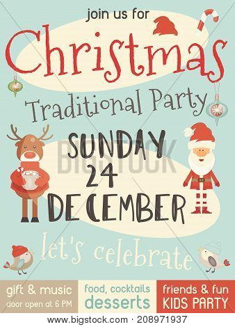 Christmas Party Invitation with Cute Santa Claus and Xmas Deer for Family Celebration. Vector Illustration.