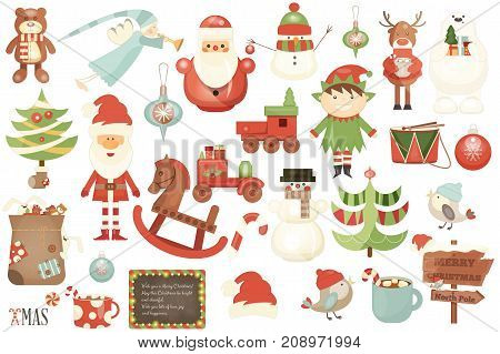 Merry Christmas Characters and Xmas Elements Isolated on White Background. Vector Illustration.