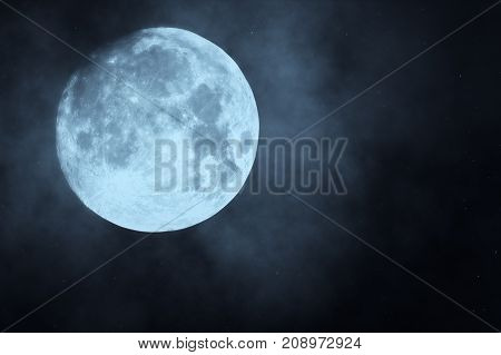 Full Moon Night Sky. Moon Light. Clouds And Moon ,beautiful Nightly Spooky 3D Illustration
