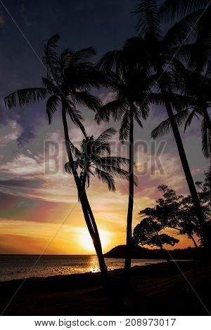Shortly before sunset in One Alii Park along Kamehamea V Hghway on Molokai Hawaii