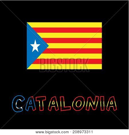 Catalonia blue estelada national flag and typography text with flag colors isolated on a black background. Vector illustration for cards, banners, print, web