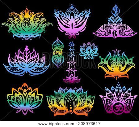 Set of Ornamental color Lotus flowers on black