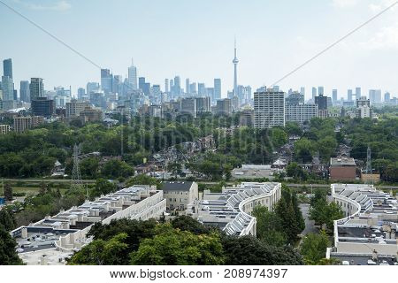 Looking down on George Brown College and the Annex neighbourhood