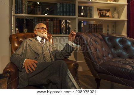 Berlin, Germany - March 2017: Sigmund Freud wax figure in Madame Tussauds museum