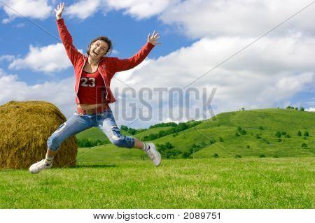 Beautiful Crazy Girl Jumping