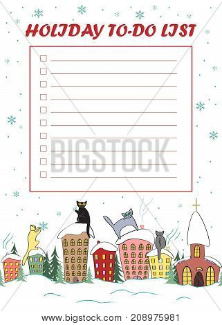 Cute Christmas To Do List. Vector Holiday frame with cute cats sitting on the roofs and looking at snow. To-do list design with empty space to write plans