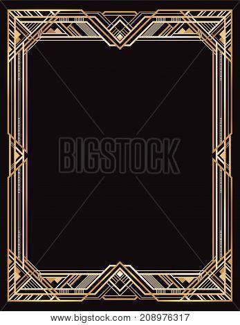 Rectangular golden and black retro frame, art deco style of 1920s.