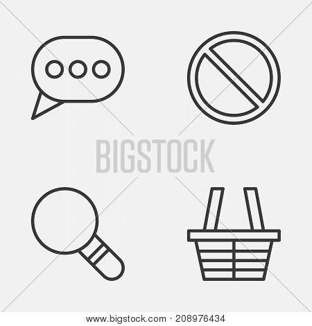Network Icons Set. Collection Of Shop, Message Bubble, Research And Other Elements