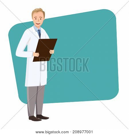 Young doctor speaking at the conference. A doctor with a folder in hand on a green rectangle. Vector illustration medic in flat style.