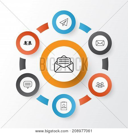 Network Icons Set. Collection Of Startup, Identity Card, Message And Other Elements