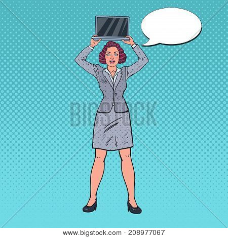 Pop Art Smiling Business Woman Holding Laptop. Secretary with Computer. Vector illustration