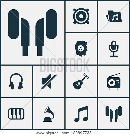 Audio Icons Set. Collection Of Tuner, Silence, Earmuff And Other Elements