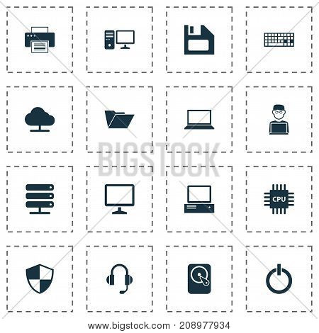 Computer Icons Set. Collection Of Earphone, Programmer, Tree And Other Elements