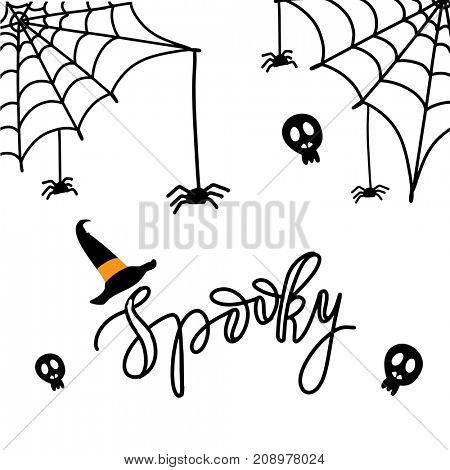 Cute Spiders and Web on orange background with text Spooky. Happy Halloween illustration on white background