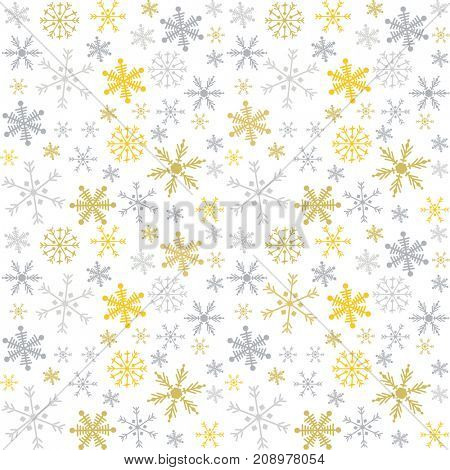 Christmas and New Year pattern with golden amd silver snowflakes on white background.