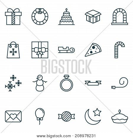 Holiday Icons Set. Collection Of Dessert, Balloon, Wedding Jewel And Other Elements
