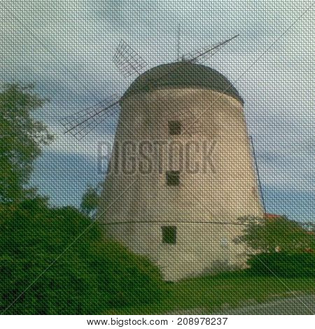 Illustration of fabric texture with windmill image background