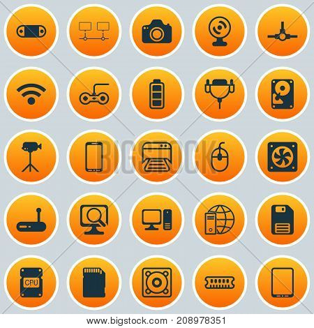 Hardware Icons Set. Collection Of Diskette, Camcorder, Radio Set And Other Elements
