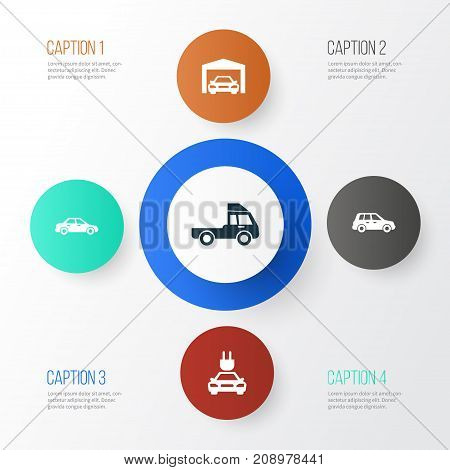 Auto Icons Set. Collection Of Van, Car, Automobile And Other Elements