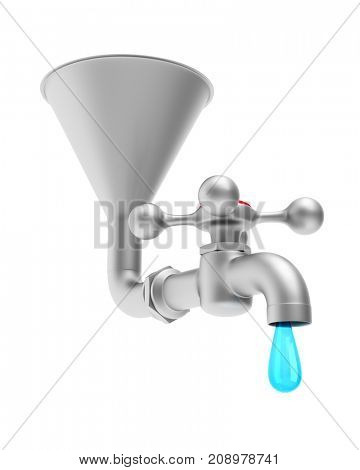 faucet on white background. Isolated 3D illustration