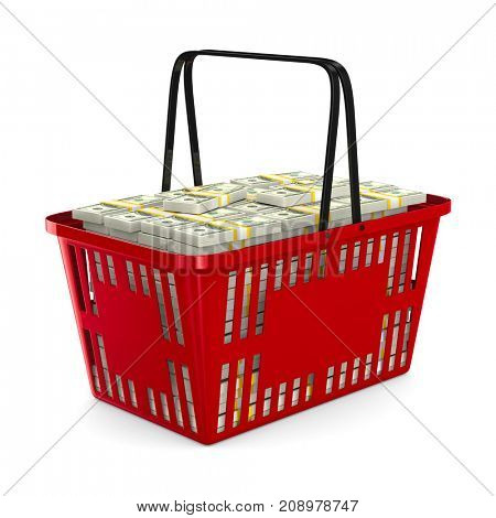Red shopping basket with money on white background. Isolated 3d illustration