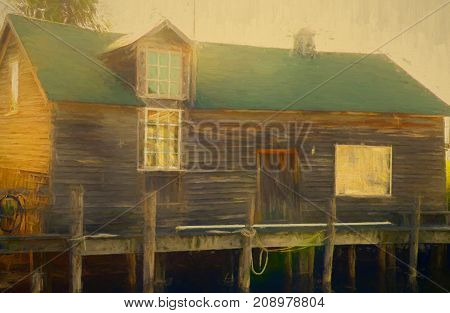 A digitally altered photograph of a fishing shanty in a section of Leland Michigan known as Fishtown where the remnants of a small fishing village nestled on the shores of Lake Michigan still remain
