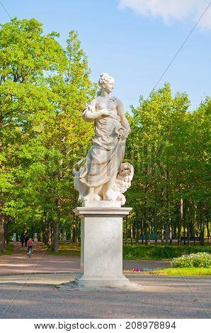 PAVLOVSK RUSSIA - SEPTEMBER 21 2017. Marble allegorical sculpture Peace in Pavlovsk near St Petersburg Russia