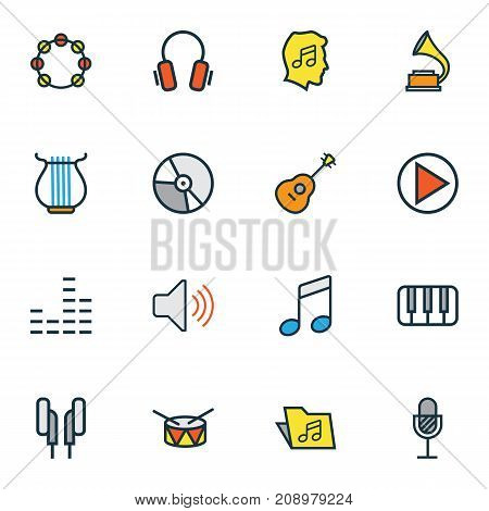 Multimedia Colorful Outline Icons Set. Collection Of Barrel, Circle, Strings And Other Elements