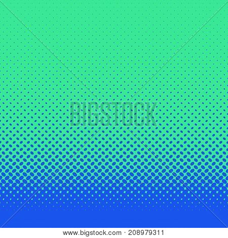 Retro abstract halftone ellipse pattern background - vector design with blue diagonal elliptical dots on green background