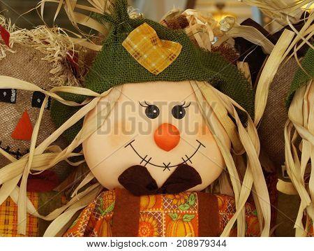 Autumn abundance halloween decoration cute happy scarecrow