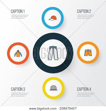 Dress Colorful Outline Icons Set. Collection Of Panama, Sweatshirt, Cap And Other Elements