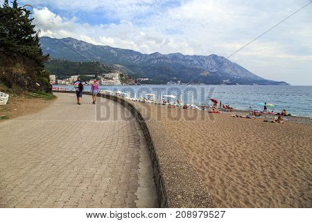 MONTENEGRO, BECICI - SEPTEMBER 10, 2013: This is a two-kilometer beach in the resort village.