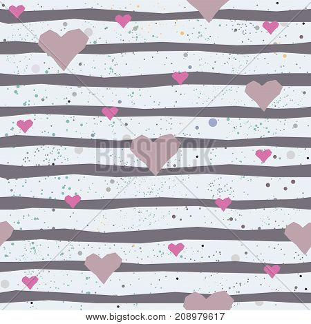 Cute seamless pattern with hand drawn pink hearts. Vector Illustration