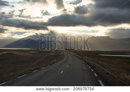 Iceland Roads With Car And Beautiful Nature View