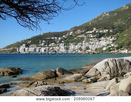 FROM CLIFTON, CAPE TOWN, SOUTH AFRICA, WITH HUGE BOULDERS IN THE FORE GROUND AND LIONS HEAD MOUNTAIN IN THE BACK GROUND 02dd