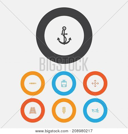 Transportation Icons Set. Collection Of Railroad, Anchor, Streetcar And Other Elements