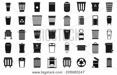 Garbage can icon set. Simple set of garbage can vector icons for web design isolated on white background