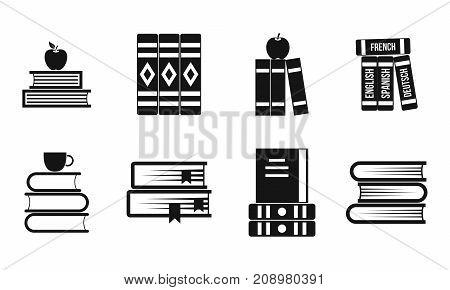 Volume of book icon set. Simple set of volume of book vector icons for web design isolated on white background