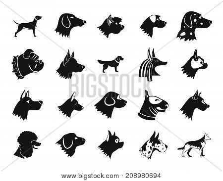 Dog icon set. Simple set of dog vector icons for web design isolated on white background