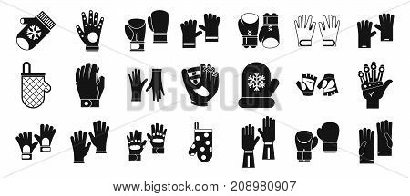 Gloves icon set. Simple set of gloves vector icons for web design isolated on white background
