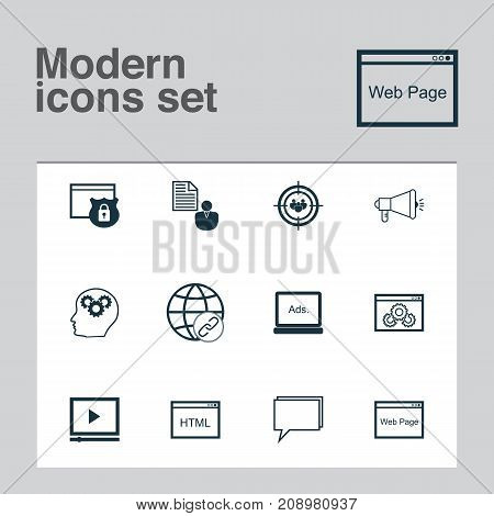 Advertising Icons Set. Collection Of Web Page Performance, Security, Coding And Other Elements