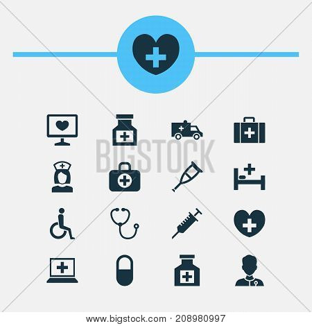 Medicine Icons Set. Collection Of Drug, Nanny, Spike And Other Elements