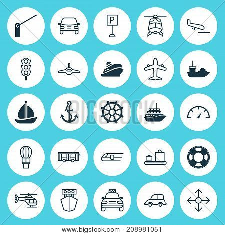Shipping Icons Set. Collection Of Automobile, Lifebuoy, Plane And Other Elements