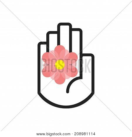 Isolated black line hand symbol holding pink daisy flower sign icon on white background