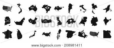 Landmark icon set. Simple set of landmark vector icons for web design isolated on white background