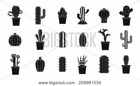 Cactus icon set. Simple set of cactus vector icons for web design isolated on white background