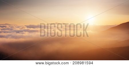 Scenic image of misty range. Locations Carpathian national park, Ukraine, Europe. Excellent wallpapers. Explore the beauty of earth. Great picture of wild area. Drone photography. Instagram filter.