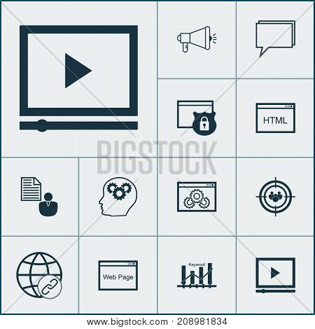 SEO Icons Set. Collection Of Intellectual Process, Media Campaign, Coding And Other Elements